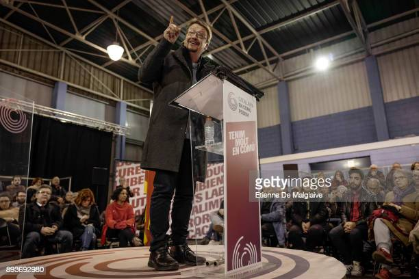 Xavier Domenech candidate for En Comu Podem party delivers a speech at a meeting ahead of Catalan Parliament election on December 15 2017 in...