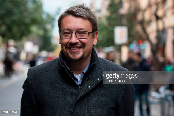 Xavier Domenech coleader of the new leftwing party 'Catalunya en comupodem' and candidate in the upcoming December 21 Catalan election smiles during...
