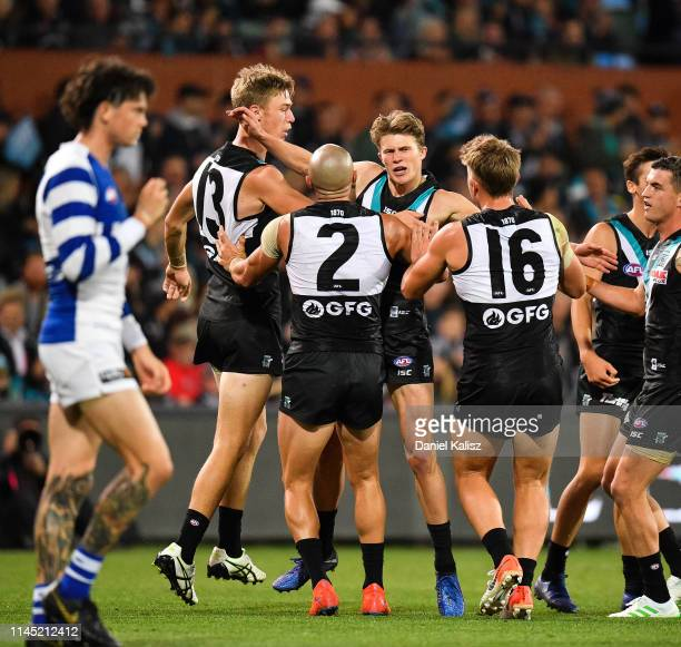 Xavier Duursma of the Power celebrates after kicking a goal during the round 6 AFL match between Port Adelaide and North Melbourne at Adelaide Oval...
