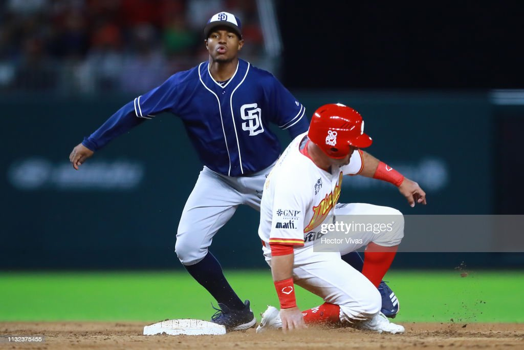 Xavier Edwards Of San Diego Padres Tagged Out In Second Base