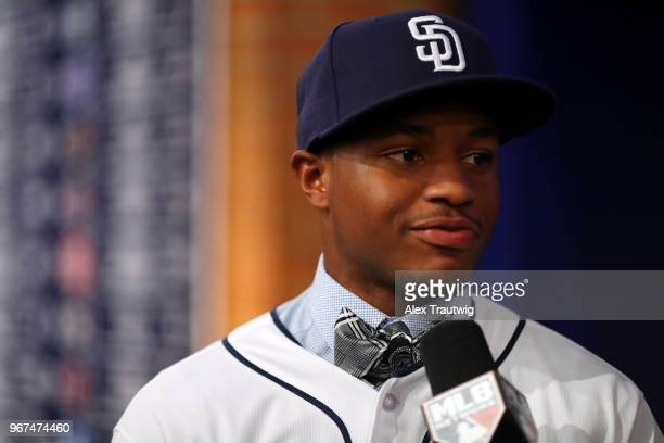 Xavier Edwards talks to Alexa Datt after selected 38th overall by the San Diego Padres during the 2018 Major League Baseball Draft at Studio 42 at...