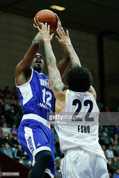 Xavier Ford of the Grand Rapids Drive shoots against Maxie Esho of the Iowa Energy during the second half of an NBA DLeague game on December 19 2015...