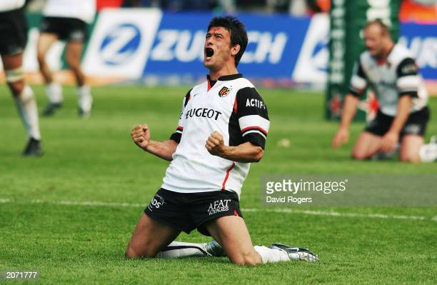 Xavier Garbajosa of Toulouse celebrates as the final whistle blows during the Heineken Cup Final between Perpignan and Toulouse on May 24, 2003 at...
