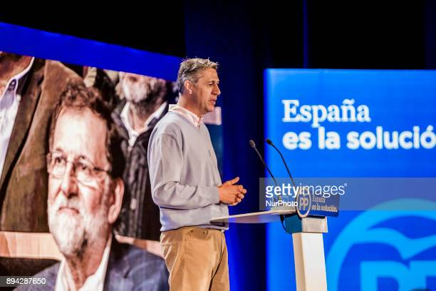 Xavier García Albiol candidate of PP party for the catalan elections gives a speech in Salou town during the political campaign for the elections in...