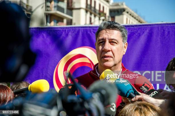 Xavier García Albiol deputy for the Partido Popular Catalán is seen talking to the media Tens of thousands of pro Spain demonstrators took to the...