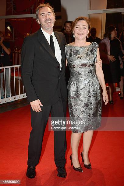Xavier Giannoli and Catherine Frot attend a premiere for 'Marguerite' during the 72nd Venice Film Festival on September 4 2015 in Venice Italy