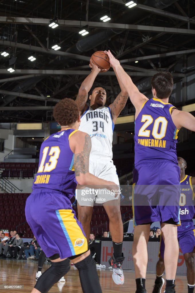 Xavier Gibson #34 of the Lakeland Magic shoots the ball during the NBA G-League Showcase Game 24 between the South Bay Lakers and the Lakeland Magic on January 13, 2018 at the Hershey Centre in Mississauga, Ontario Canada.