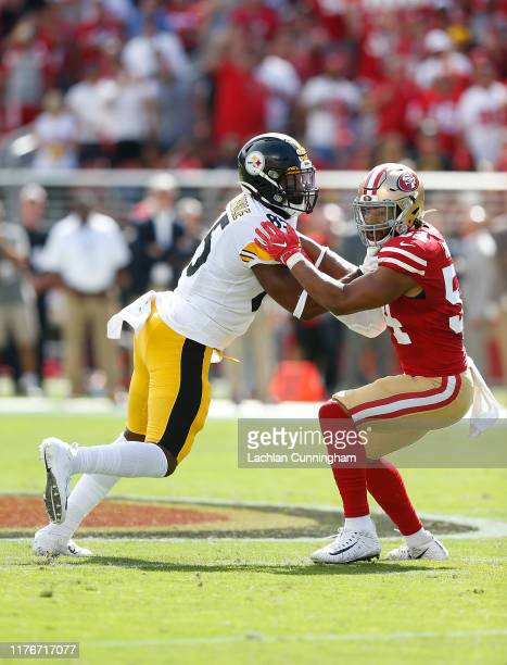 Xavier Grimble of the Pittsburgh Steelers competes against Fred Warner of the San Francisco 49ers in the first half at Levi's Stadium on September...