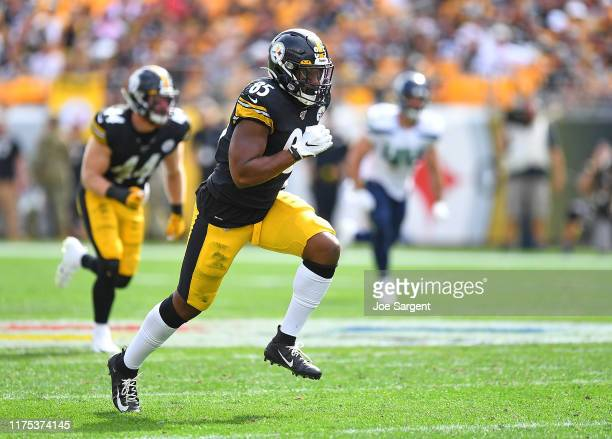 Xavier Grimble of the Pittsburgh Steelers in action during the game against the Seattle Seahawks at Heinz Field on September 15, 2019 in Pittsburgh,...