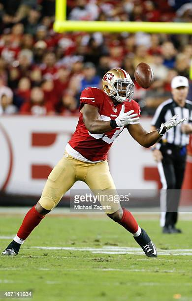Xavier Grimble of the San Francisco 49ers makes a reception during the game against the San Diego Chargers at Levi Stadium on September 3, 2015 in...