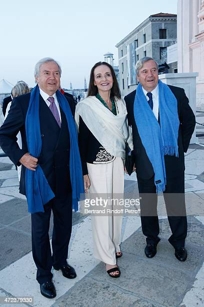 Xavier Guerrand Hermes Helene Grimaud and Hubert Hermes attend the Dinner At 'Fondazione Cini Isola Di San Giorgio' 2015 Venice Biennale on May 6...