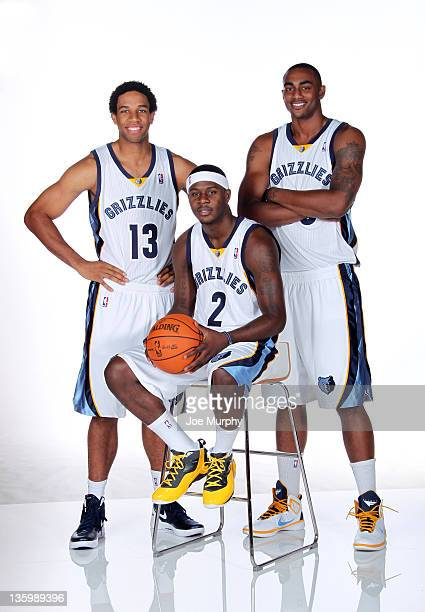 Xavier Henry Josh Selby and Darrell Arthur of the Memphis Grizzlies pose for a portrait during NBA Media Day on December 15 2011 at FedExForum in...