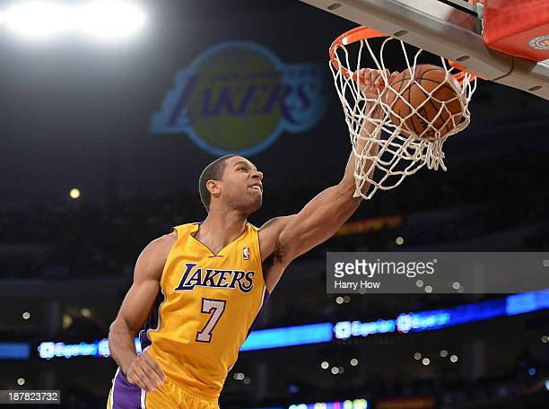 Xavier Henry of the Los Angeles Lakers dunks on the New Orleans Pelicans during a 11695 Laker win at Staples Center on November 12 2013 in Los...