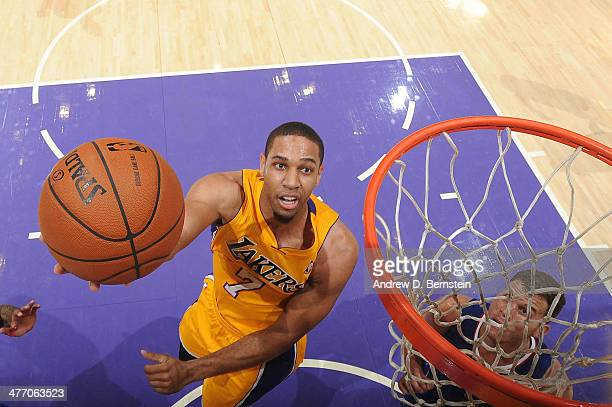 Xavier Henry of the Los Angeles Lakers goes up for a shot against the Los Angeles Clippers at Staples Center on March 6 2014 in Los Angeles...