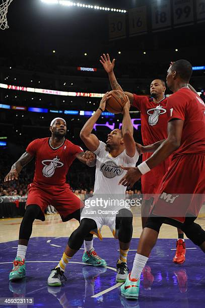 Xavier Henry of the Los Angeles Lakers handles the basketball during a game against the Miami Heat at STAPLES Center on December 25 2013 in Los...