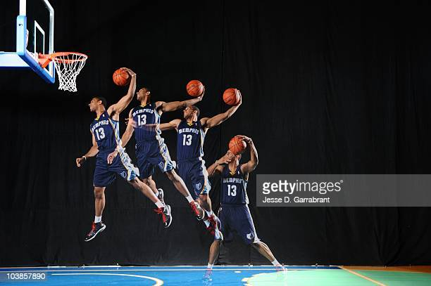 Xavier Henry of the Memphis Grizzlies does mock action shots during the 2010 NBA rookie photo shoot on August 17 2010 at the MSG Training Facility in...