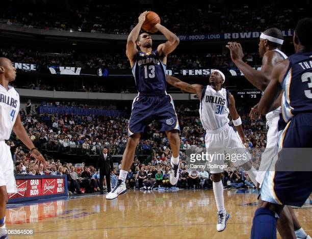 Xavier Henry of the Memphis Grizzlies shoots a jumper against Jason Terry of the Dallas Mavericks during a game on October 29 2010 at the American...