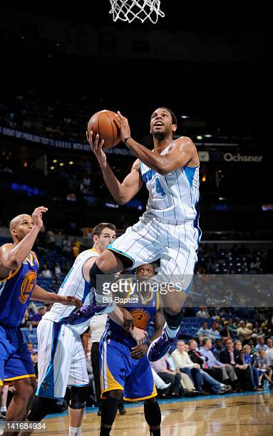 Xavier Henry of the New Orleans Hornets goes to the basket during the game between the New Orleans Hornets and the Golden State Warriors on March 21...