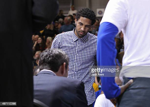 Xavier Henry of the Santa Cruz Warriors watch his team prepare for the game against the Bakersfield Jam on November 13 2015 at Kaiser Permanente...