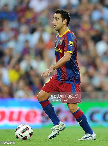 Xavier Hernandez of Barcelona controls the ball during the La Liga match between Barcelona and Hercules at the Camp Nou stadium on September 11 2010...