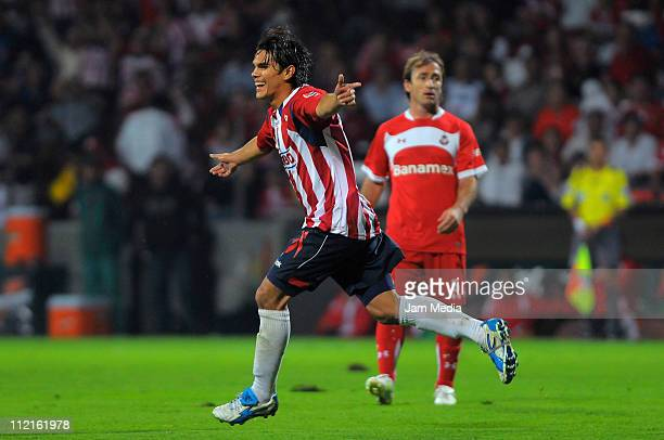 Xavier Ivan Baez, of Chivas, celebrates a scored goal during a match against Toluca as part of the Clausura Tournament in the Mexican Football League...