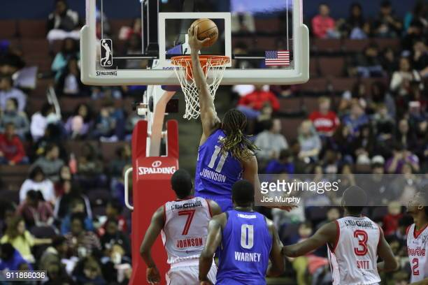 Xavier Johnson of the Texas Legends dunks the ball against the Memphis Hustle during an NBA GLeague game on January 29 2018 at Landers Center in...