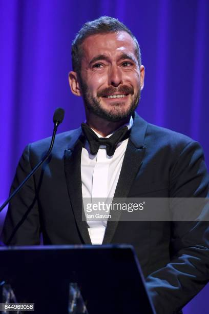 Xavier Legrand receives the Silver Lion for Best Director Award for 'Jusqu'à la Garde' during the Award Ceremony of the 74th Venice Film Festival at...