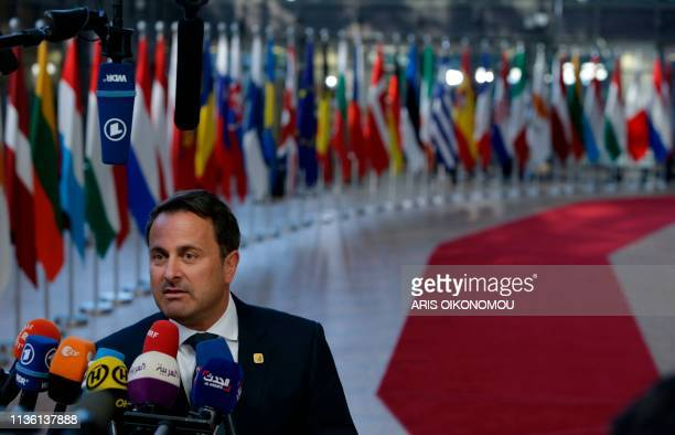 Xavier Luxembourg's Prime minister Xavier Bettel speaks to the press as he arrives ahead of a European Council meeting on Brexit at The Europa...