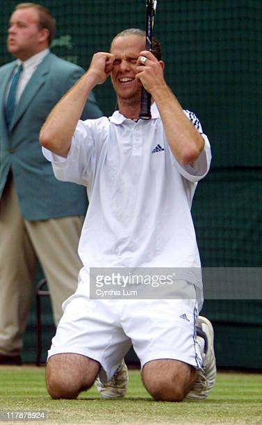 Xavier Malisse in his 6-1, 4-6, 6-2, 3-6, 9-7 victory over Richard Krajicek in the Quarterfinals of the 2002 Wimbledon Tennis Championships.