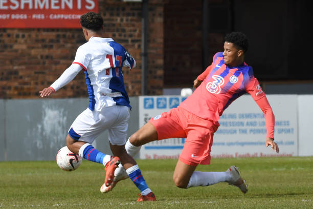 Xavier Mbuyamba of Chelsea clears the ball away from Sam Durrant of Blackburn during the Blackburn Rovers v Chelsea Premier League 2 match at Leyland...