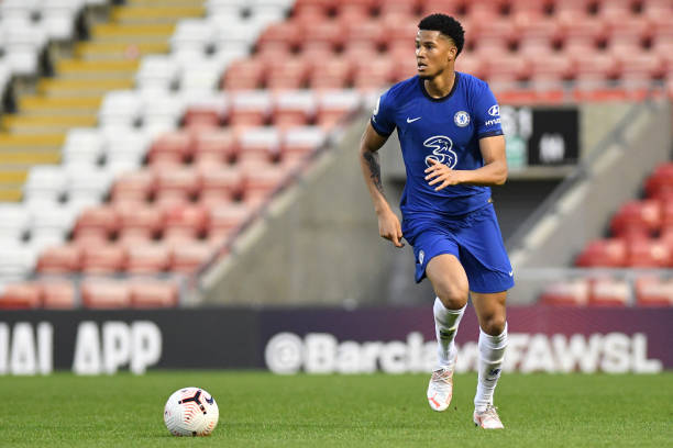 Xavier Mbuyamba of Chelsea runs with the ball during the Premier League 2 match between Manchester United U23 and Chelsea U23 at Leigh Sports Village...