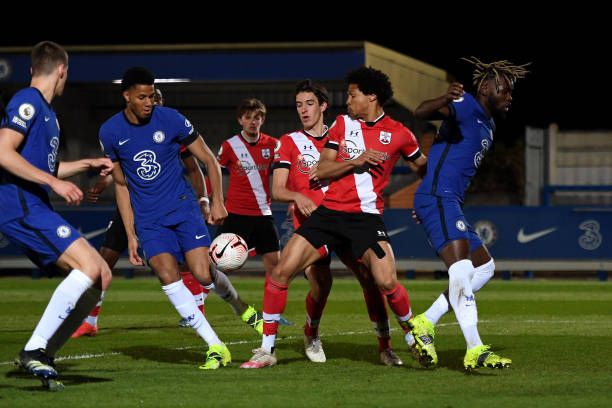 Xavier Mbuyamba of Chelsea scores the third goal during the Chelsea v Southampton Premier League 2 match at Kingsmeadow on April 12, 2021 in Kingston...