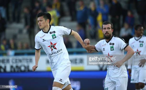 Xavier Mercier of Cercle celebrates with Naomichi Ueda of Cercle after scoring a goal during the Jupiler Pro League playoff 2 group B match between...