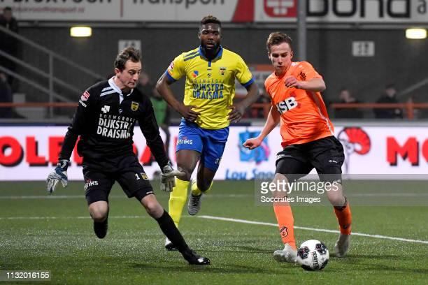 Xavier Mous of SC Cambuur Emmanuel Mbende of SC Cambuur Robin Schouten of FC Volendam during the Dutch Keuken Kampioen Divisie match between FC...