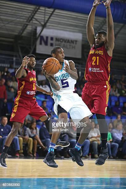 Xavier Munford of the Greensboro Swarm passes against Christian Watford of the Fort Wayne Mad Ants during the game at the The Field House at the...