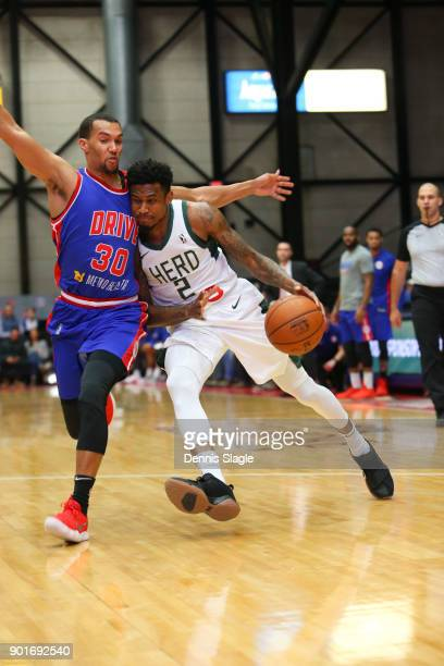 Xavier Munford of the Wisconsin Herd drives to the basket against the Grand Rapids Drive at The DeltaPlex Arena for the NBA GLeague on JANUARY 5 2018...