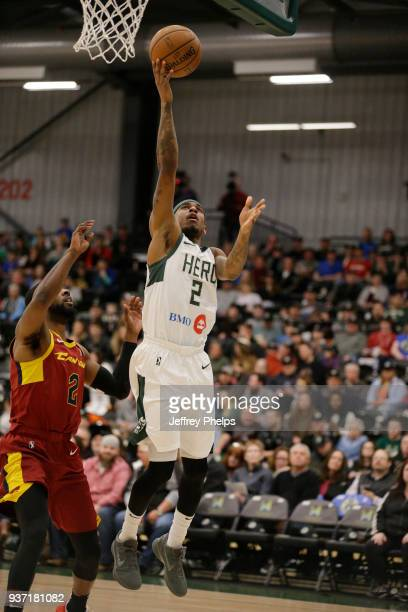 Xavier Munford of the Wisconsin Herd drives to the basket against the Canton Charge during the NBA GLeague game on March 23 2018 at the Menominee...