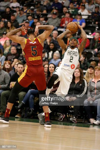 Xavier Munford of the Wisconsin Herd passes the ball against the Canton Charge during the NBA GLeague game on March 23 2018 at the Menominee Nation...