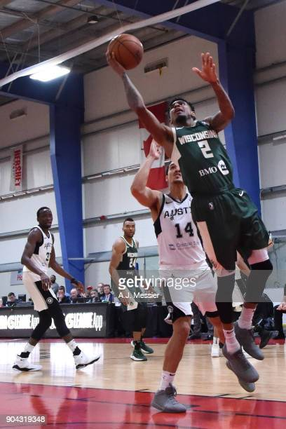 Xavier Munford of the Wisconsin Herd shoots the ball against the Austin Spurs during the GLeague Showcase on January 12 2018 at the Hershey Centre in...
