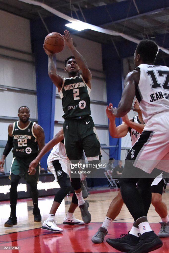 Xavier Munford #2 of the Wisconsin Herd shoots the ball against the Austin Spurs during the G-League Showcase on January 12, 2018 at the Hershey Centre in Mississauga, Ontario Canada.