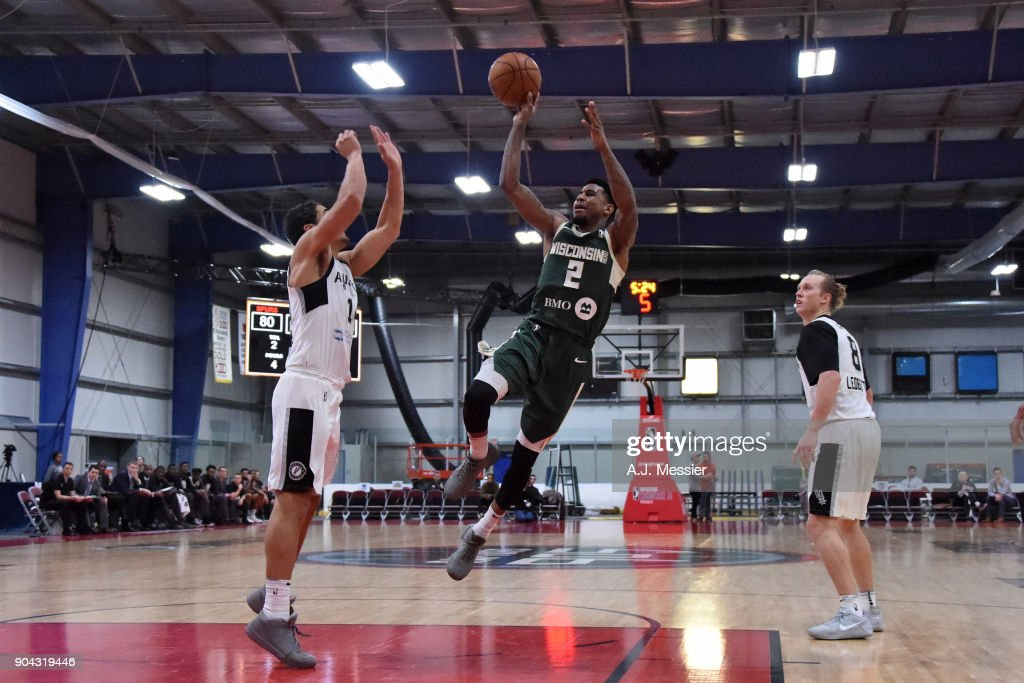 Xavier Munford #2 of the Wisconsin Herd shoots the ball Austin Spurs during the G-League Showcase on January 12, 2018 at the Hershey Centre in Mississauga, Ontario Canada.