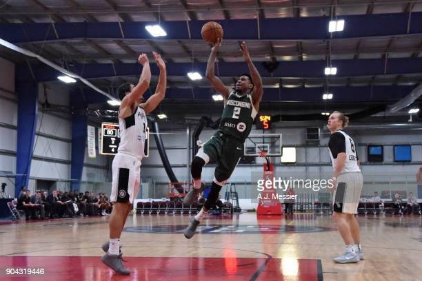 Xavier Munford of the Wisconsin Herd shoots the ball Austin Spurs during the GLeague Showcase on January 12 2018 at the Hershey Centre in Mississauga...