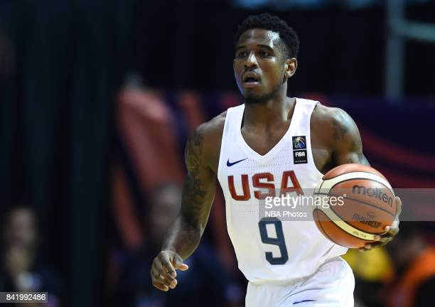 Xavier Munford of United States handles the ball during the FIBA Americup semi final match between US and Virgin Islands at Orfeo Superdomo arena on...