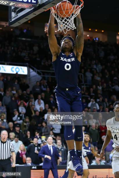 Xavier Musketeers forward Tyrique Jones dunks the ball during a college basketball game between Xavier Musketeers and Providence Friars on February...