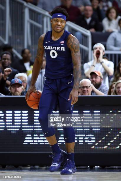 Xavier Musketeers forward Tyrique Jones reacts during a college basketball game between Xavier Musketeers and Providence Friars on February 16 at the...
