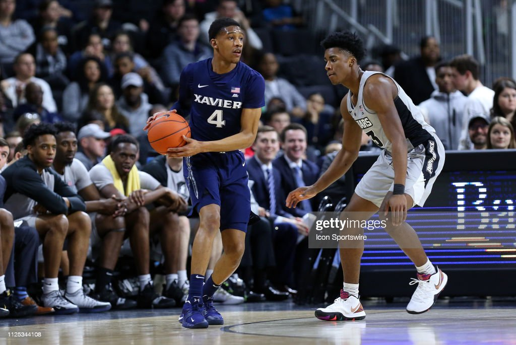 a58cfa21983 Xavier Musketeers guard Elias Harden defended by Providence Friars ...