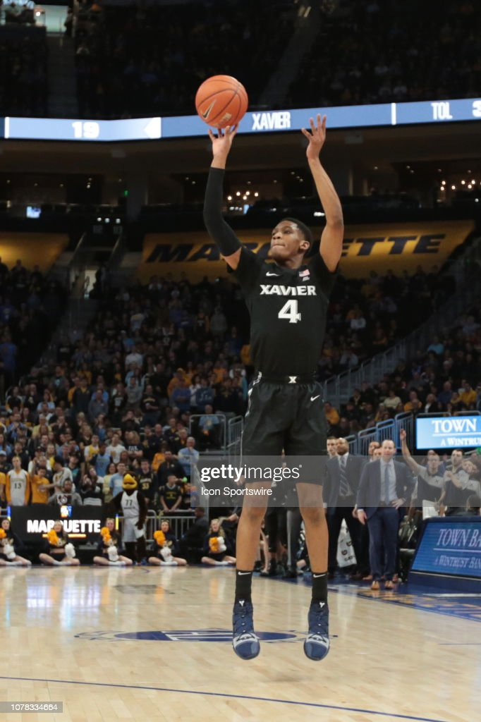 0b1e5e007e3 Xavier Musketeers guard Elias Harden takes a three point shot during ...