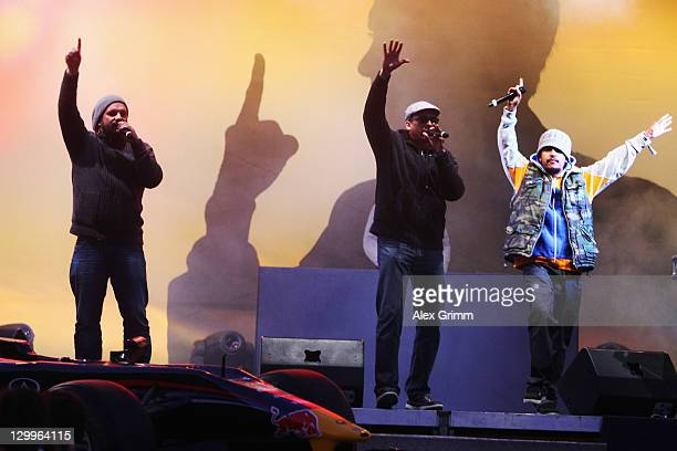 Xavier Naidoo and 'Soehne Mannheims' perform during the World Championship Party for Formula One World Champion Sebastian Vettel of Red Bull Racing...