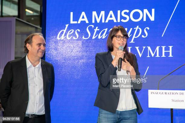 Xavier Niel and Rachel Vanier attend the 'LVMH StartUp Accelerator' opening ceremony at 'Station F' on April 9 2018 in Paris France