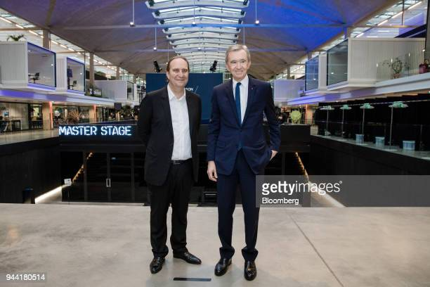 Xavier Niel billionaire and deputy chairman of Iliad SA left and Bernard Arnault billionaire and chief executive officer of LVMH Moet Hennessy Louis...
